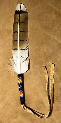Native American Lakota Sioux Beaded Feather.