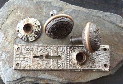 Antique Eastlake Style Bronze Doorknobs, Plates Mortise Lock & Keys