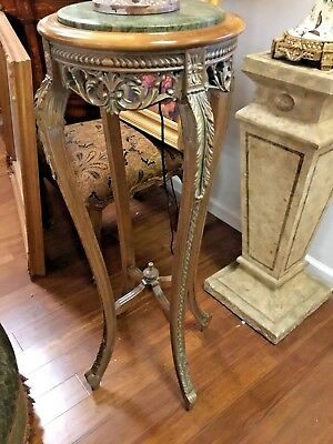 Hand Carved French Style Wood Pedestal with Marble Top
