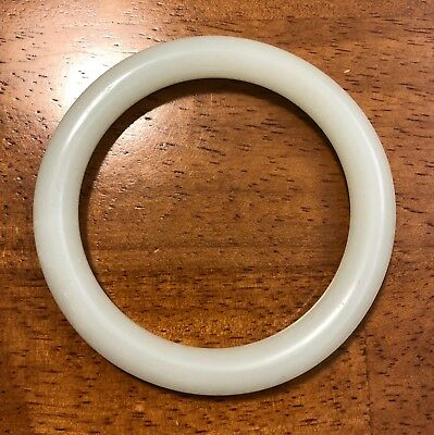 Vintage Thick Chinese WHITE JADE Bangle Bracelet, Excellent