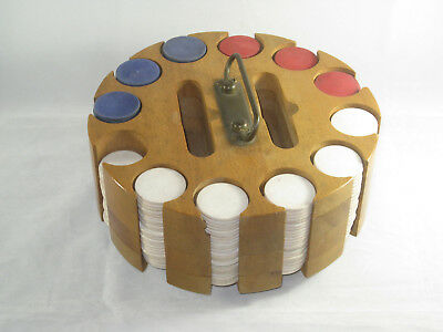 Vintage 1930s/1940s Wood Poker Chip Caddy Carousel / Lazy Susan & Chips