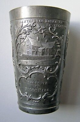 - ANTIQUE Salem Witch Souvenir Pewter Tumbler / Cup -