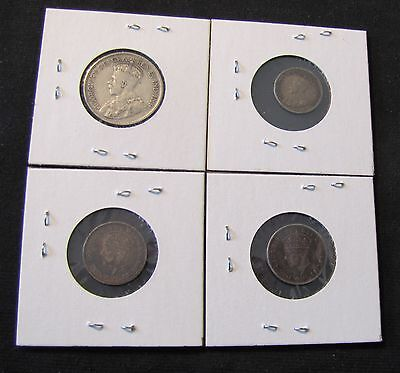 Lot of 4 Canada Newfoundland Coins w/ Silver - 1917 25 Cents, 1917 5 Cents