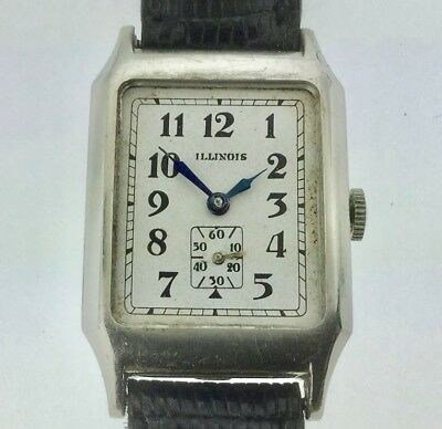 "VINTAGE 1930s ART DECO Men's ILLINOIS ""ANDOVER"" 14k WHITE GOLD-FILLED Watch 207"