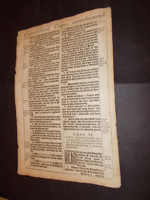 1611 King James Bible Leaf-Folio- Isaiah 6: Isaiah Vision of the Lord-Here AM I