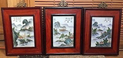 Three Chinese Plaques, Hand-Painted