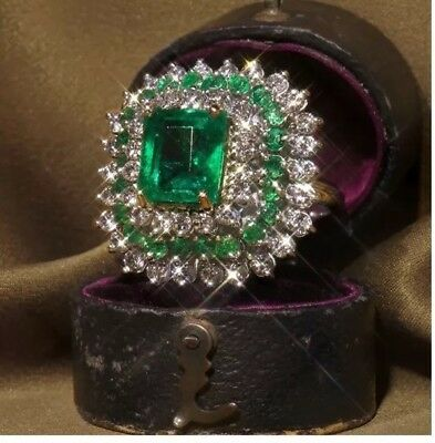 Vintage Inspired Art Deco Inspired stainless steel Emerald Ring Size 8