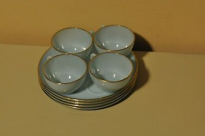 Set of 4 Light Blue or Azurite Fire King Luncheon or Snack Plates & Cups