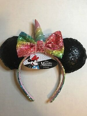 Brand new Disney Minnie Mouse Rainbow Unicorn Mouse Ears RARE!