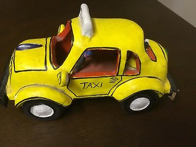 Mexican Clay Car TAXI Hand Made/Painted Pottery Mexico Vintage Folk Art J.J.R.M