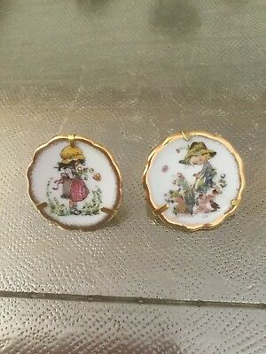 Two Beautiful Limoge Miniature Hand Painted Small Display Plates