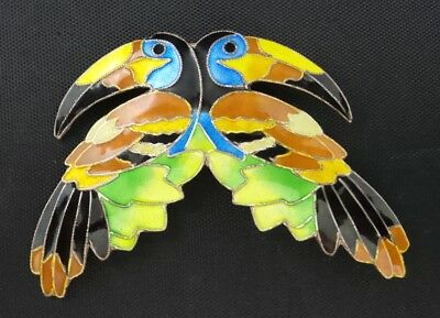VINTAGE STERLING SILVER ENAMEL PAIR OF TOUCANS BIRDS PIN BROOCH Chinese Export