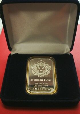 *NEW-GIFT! 1 Troy oz-SCOTTSDALE MINT 999 FN SILVER 'LION HEAD' BAR-AT Hldr+Case!