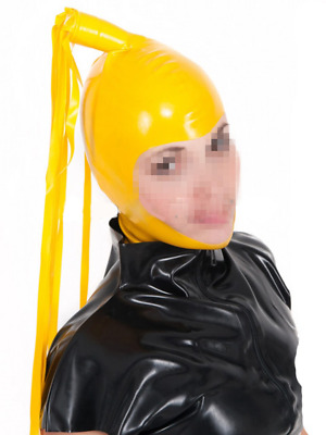 Sexy Latex Hood Rubber Mask with Tails Gummi 0.4mm for Catsuit Unisex Party
