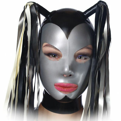 Sexy Latex Hood Rubber Mask with Tails for Catsuit Unisex Party Wear