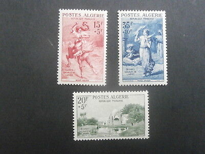"1957  Algeria set of 3 mint stamps - Army Welfare Fund Inscr. ""Oeuvres Sociales"