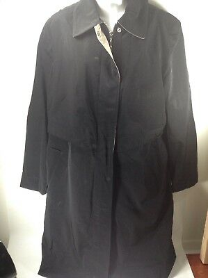 Liz Claiborne Womens Ladies black Trench Coat zip up large buy now or best offer