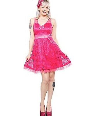 75bdeb6e771 New Sourpuss Tear Up The Town Pink Lace Dress Pinup Rockabilly Large L  Cocktail