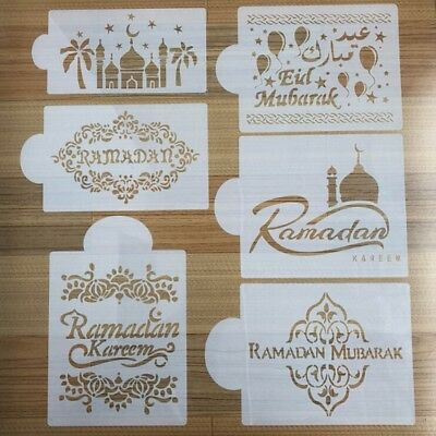 Mosque Eid Mubarak Cake Stencil Kitchen Cookware Decor Mould Templates Tool New