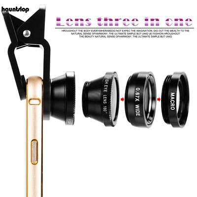 3in1 Clip Fish Eye+Macro+Wide Angle-Lens Camera kit for iPhone/Samsung Cellphone