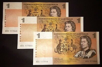 1966 Australia Coombs/Wilson 3 x consecutive aUncirculated $1 banknotes - aUNC