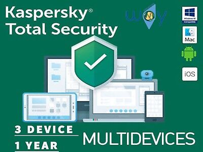 Kaspersky Total Security 2019 3 PC  1 ANNO  PC MAC ANDROID MD  EU SUPER OFFERTA