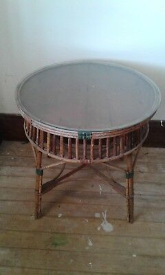 Vintage Edwardian style cane round top glass table