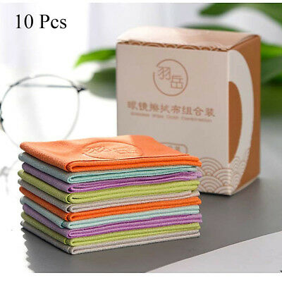 10 pcs Eyeglasses Chamois Glasses Cleaner Microfiber Glasses Cleaning Cloth Tool