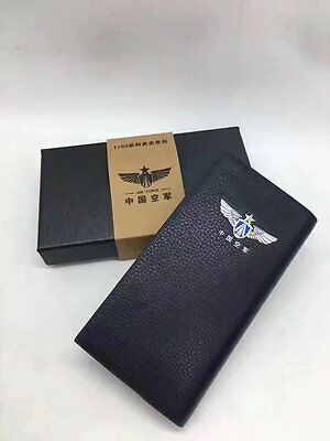 15's series China PLA Air Force Badge Officer Genuine Leather Wallet,AA