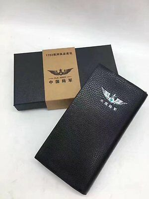 15's series China PLA Army Badge Officer Genuine Leather Wallet,AA
