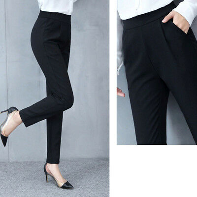 Women's Trousers Casual Fashion Solid Mid Waist Long Trousers Office Pants