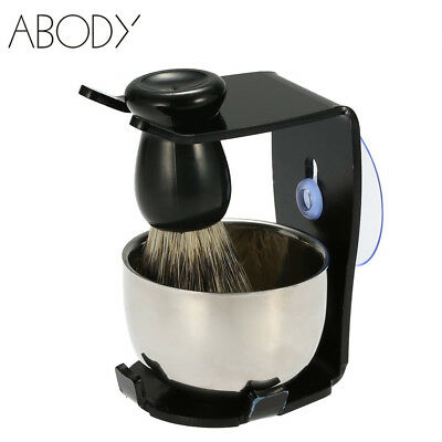 Men Shaving Set Badger Hair Beard Cleaning Brush Soap Bowl Stand Holder Tools