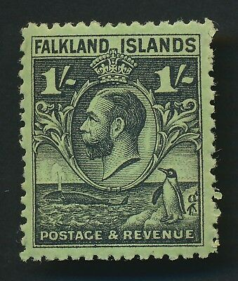 Falkland Islands Stamp 1929 1/- Kgv Penguin Black/emerald, Sg #122 Mint Og Lh Vf