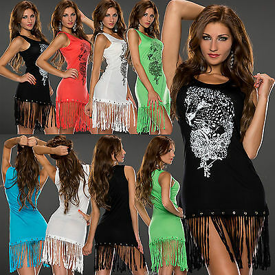 Top Womens Mini Dress Ladies Blouse Clubbing Fringed Party Shirt Size 6 8 10 12