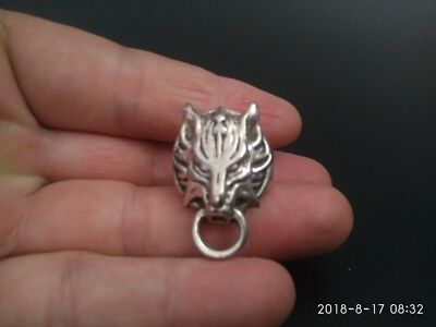 COLLECTIBLE old Tibetan silver hand made Chinese tiger statue finger ring RN027