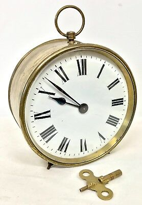 Lovely Antique French Brass Drum Clock With Enamel Dial Working
