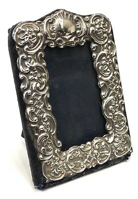 Stunning Antique London Sterling Silver Embossed Photo Picture Frame