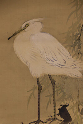 "JAPANESE HANGING SCROLL ART Painting ""White egret"" Asian antique  #E5706"