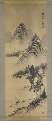 JAPANESE HANGING SCROLL ART Painting Sansui Landscape Asian antique  #E5700