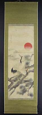 "JAPANESE HANGING SCROLL ART Painting ""Cranes"" Tanomura Chokunyu  #E5688"