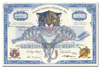 Florida Panthers Holdings, Inc. Stock Certificate - Hockey