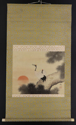 "JAPANESE HANGING SCROLL ART Painting ""Cranes"" Asian antique  #E5690"