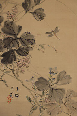 "JAPANESE HANGING SCROLL ART Painting ""Flowers and Dragonfly""  #E5697"