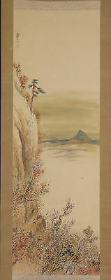 JAPANESE HANGING SCROLL ART Painting Scenery Asian antique  #E5698
