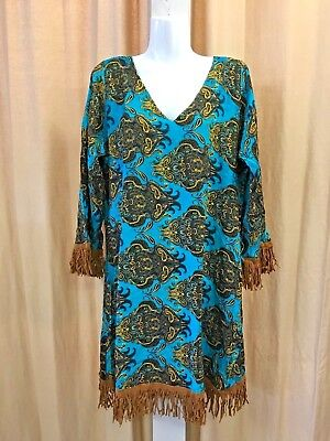 Rayon caftan dress with suede fringe.1 fit.Funky hippie design.Unique.Brand new