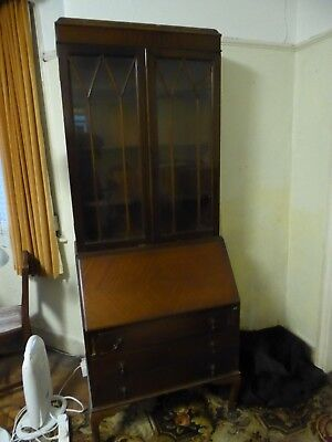 Antique Bureau with opening Desk and glass fronted shelf cabinet