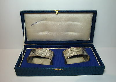 Pair Of Fancy Vintage 800 Silver Napkin Rings No Reserve
