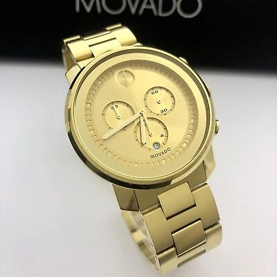 0eb83aae7 Movado BOLD Chronograph 44mm Men's $995 Gold IP Stainless Steel Watch  3600278
