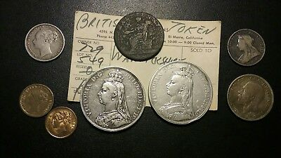 Great Britain Coins And Tokens Lot .1889 And 1890 Crown ,hanover Token And More