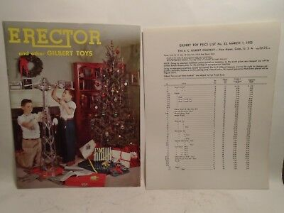 Original 1955 Erector And Other Gilbert Toys Catalog & Price List In Mint Condit